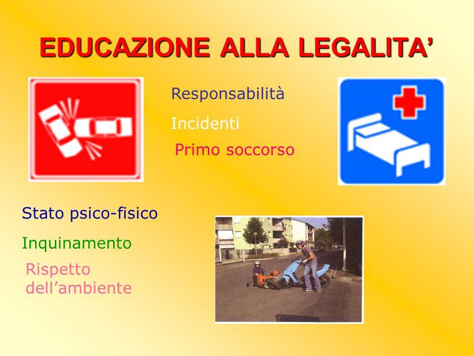EDUCAZIONE ALLA LEGALITA Responsabilità Incidenti Primo soccorso Stato psico-fisico Inquinamento Rispetto dellambiente