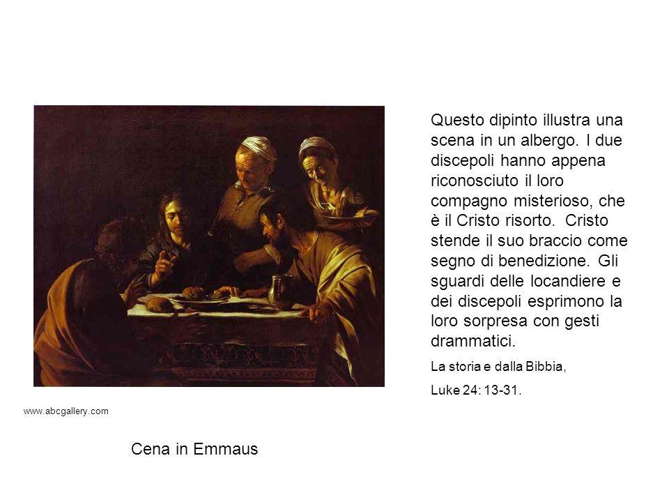 Questo dipinto illustra una scena in un albergo. I due discepoli hanno appena riconosciuto il loro compagno misterioso, che è il Cristo risorto. Crist