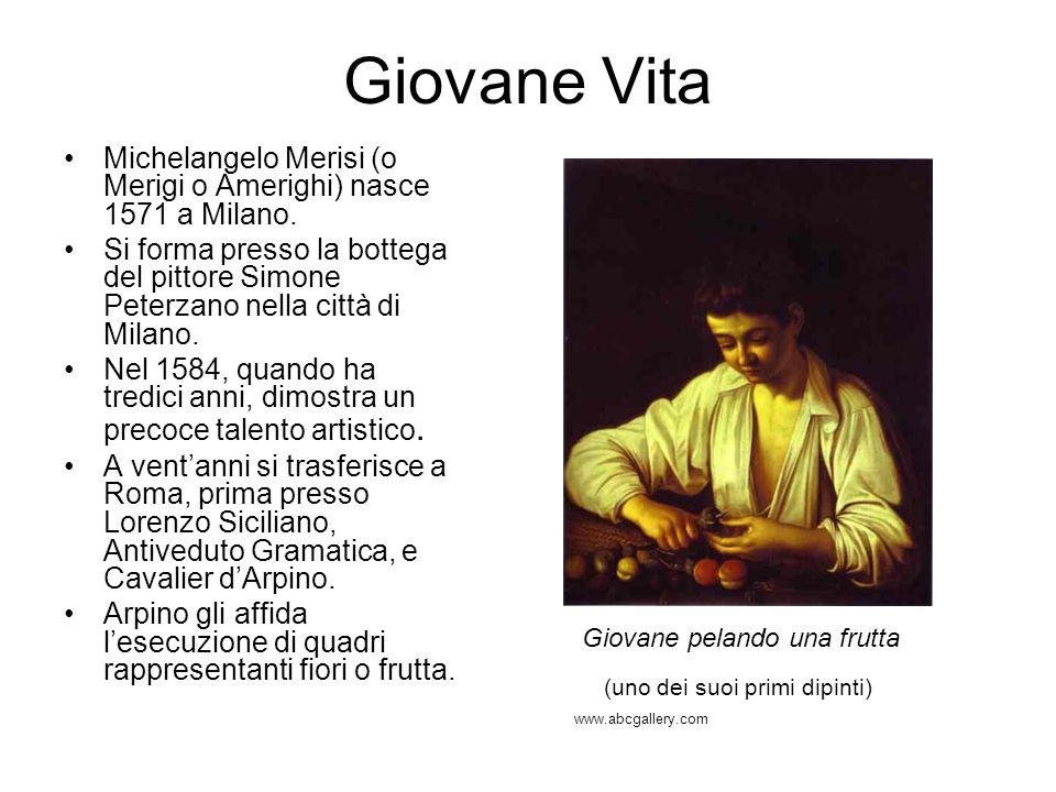 Le Opere Caravaggio inventa un suo particolare repertorio dipingendo giovani in strada, messi in posa, accompagnati dai cesti di frutta, calici e oggetti di vetro.