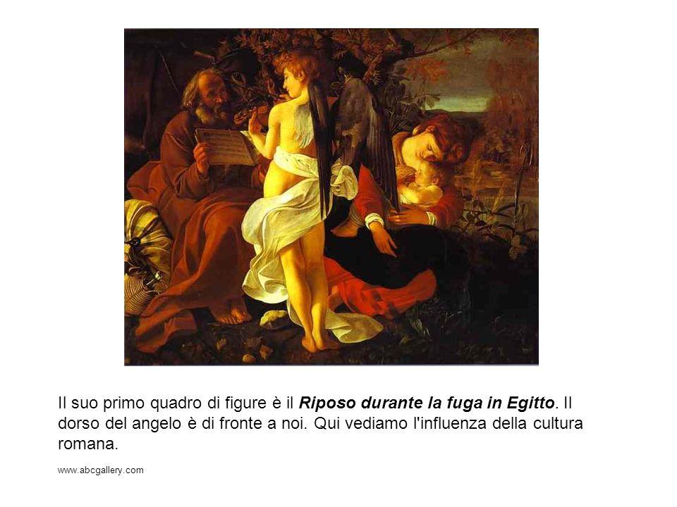 Il suo primo quadro di figure è il Riposo durante la fuga in Egitto. Il dorso del angelo è di fronte a noi. Qui vediamo l'influenza della cultura roma
