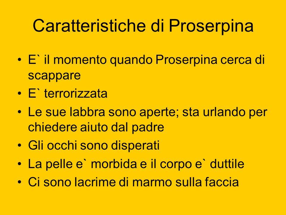 Caratteristiche di Proserpina E` il momento quando Proserpina cerca di scappare E` terrorizzata Le sue labbra sono aperte; sta urlando per chiedere ai