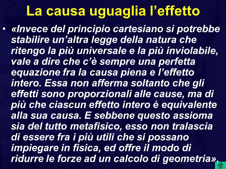 La causa uguaglia leffetto «Invece del principio cartesiano si potrebbe stabilire unaltra legge della natura che ritengo la più universale e la più inviolabile, vale a dire che cè sempre una perfetta equazione fra la causa piena e leffetto intero.