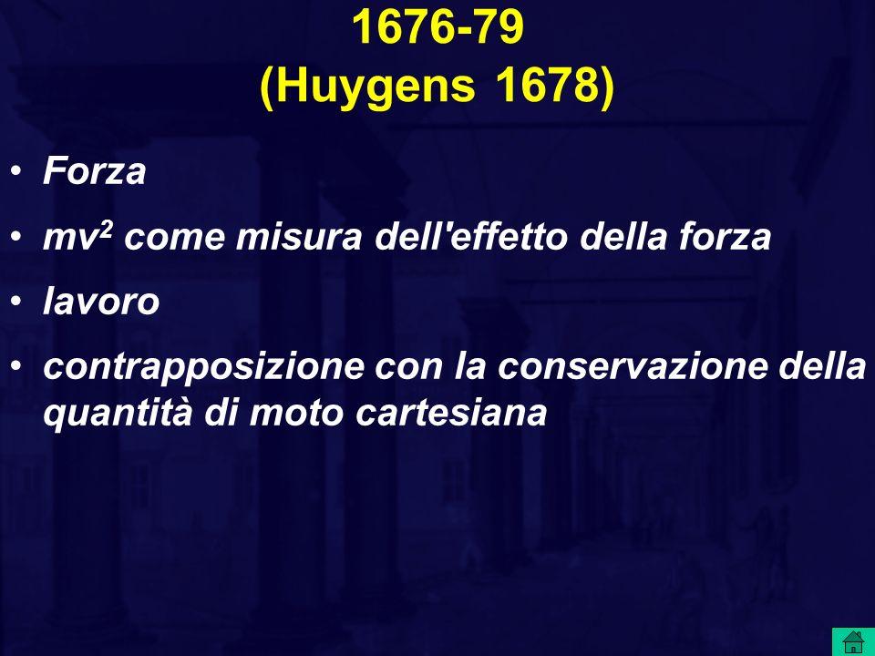 1676-79 (Huygens 1678) Forza mv 2 come misura dell effetto della forza lavoro contrapposizione con la conservazione della quantità di moto cartesiana