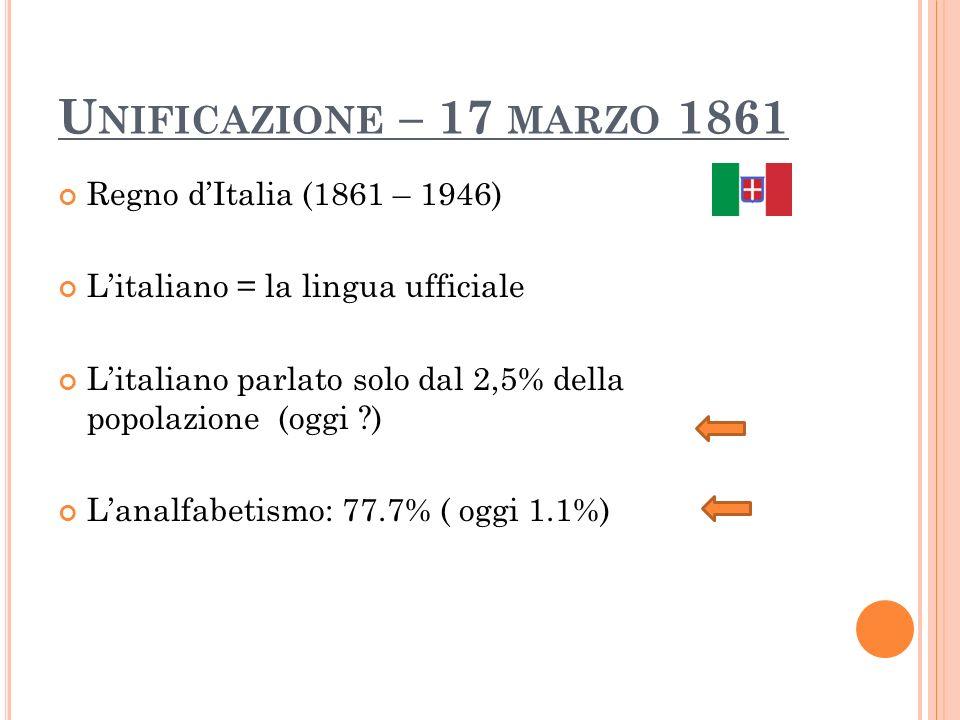 U NIFICAZIONE – 17 MARZO 1861 Regno dItalia (1861 – 1946) Litaliano = la lingua ufficiale Litaliano parlato solo dal 2,5% della popolazione (oggi ?) L