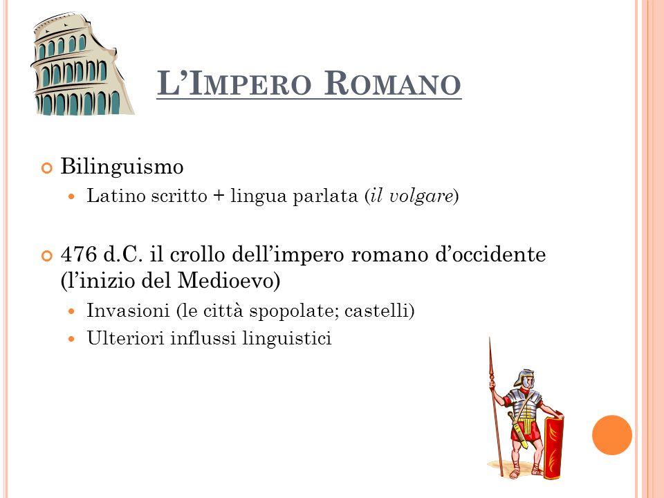 LI MPERO R OMANO Bilinguismo Latino scritto + lingua parlata ( il volgare ) 476 d.C. il crollo dellimpero romano doccidente (linizio del Medioevo) Inv