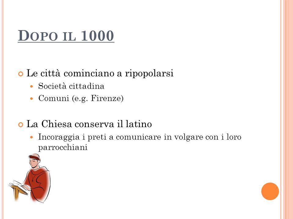 D OPO IL 1000 Le città cominciano a ripopolarsi Società cittadina Comuni (e.g. Firenze) La Chiesa conserva il latino Incoraggia i preti a comunicare i