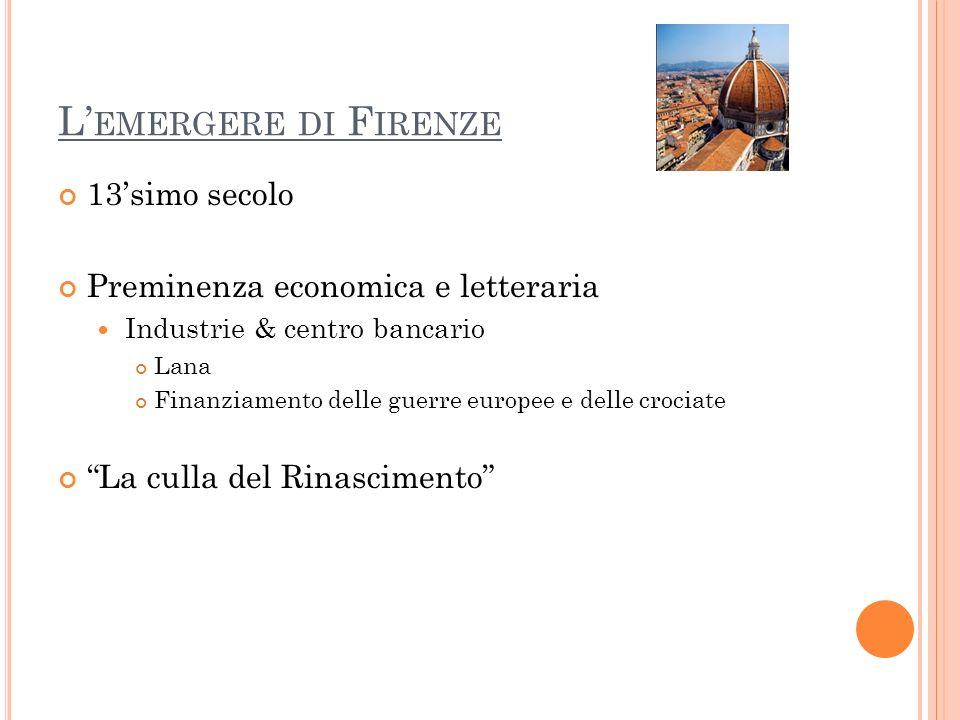 L E TRE CORONE Dante Alighieri (1265 – 1321 ) La vita nuova LA COMMEDIA Giovanni Boccaccio (1313 – 1375) Il Decameron Francesco Petrarca (1304 – 1374) Prosa e poesia (in latino e volgare)