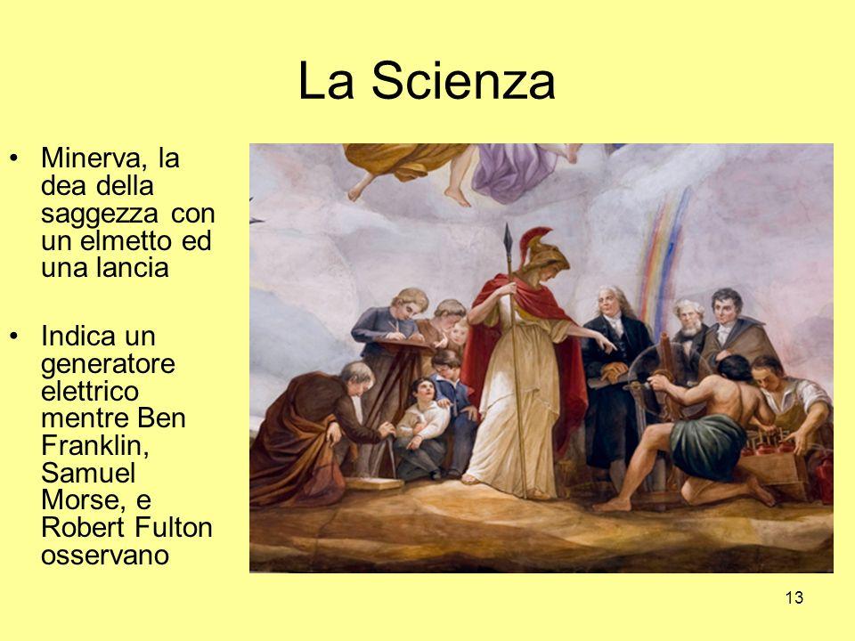 13 La Scienza Minerva, la dea della saggezza con un elmetto ed una lancia Indica un generatore elettrico mentre Ben Franklin, Samuel Morse, e Robert Fulton osservano