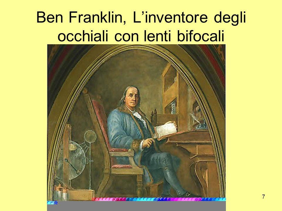 7 Ben Franklin, Linventore degli occhiali con lenti bifocali