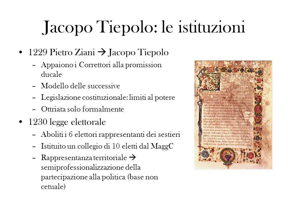 Jacopo Tiepolo: le istituzioni 1229 Pietro Ziani Jacopo Tiepolo –Appaiono i Correttori alla promission ducale –Modello delle successive –Legislazione