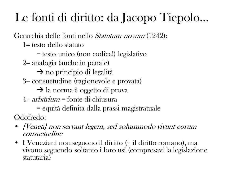Le fonti di diritto: da Jacopo Tiepolo… Gerarchia delle fonti nello Statutum novum (1242): 1-- testo dello statuto = testo unico (non codice!) legisla