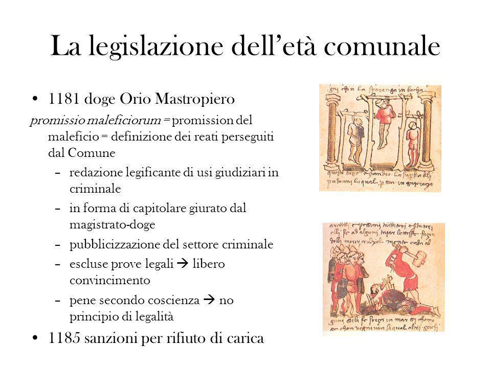 La legislazione delletà comunale 1181 doge Orio Mastropiero promissio maleficiorum = promission del maleficio = definizione dei reati perseguiti dal C