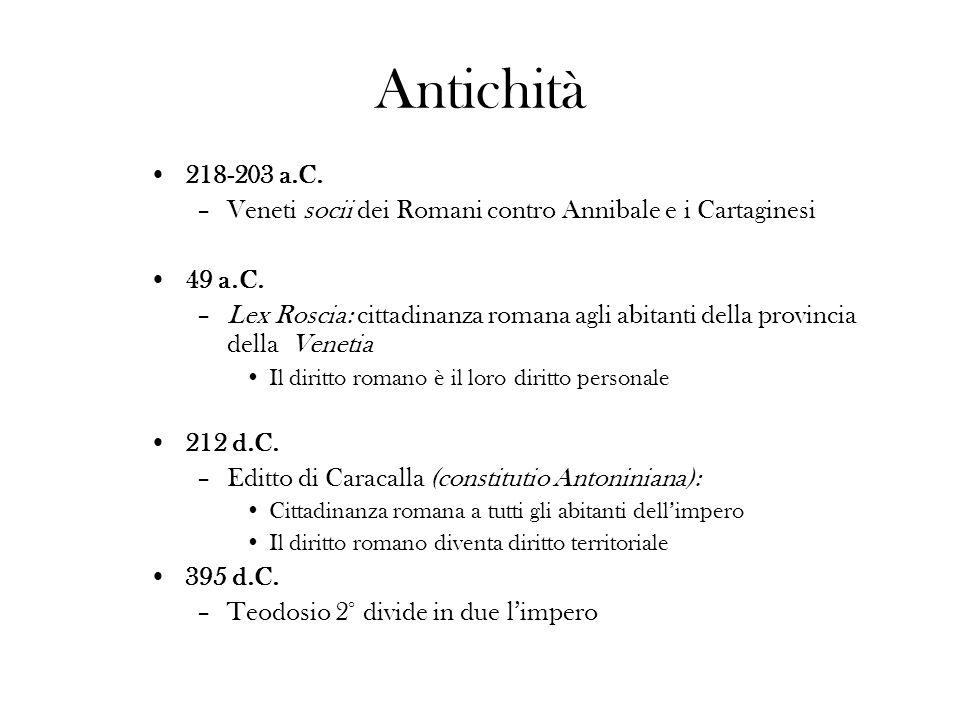 Antichità 218-203 a.C. –Veneti socii dei Romani contro Annibale e i Cartaginesi 49 a.C. –Lex Roscia: cittadinanza romana agli abitanti della provincia