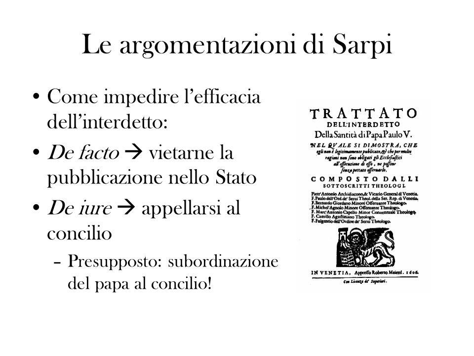 1607 soluzione di compromesso: Il papa –ritira linterdetto Venezia –rilascia i due rei –ritira il protesto contro linterdetto MA: –mantiene in vigore la legislazione giurisdizionalista –non consente il rientro dei Gesuiti