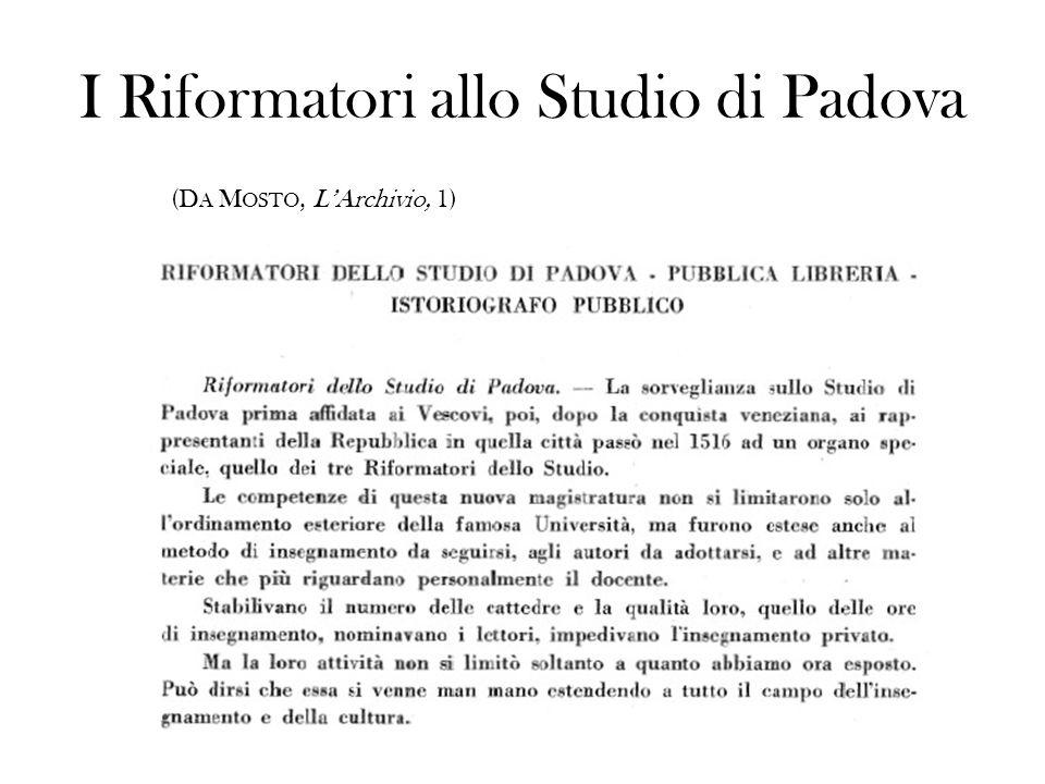 I Riformatori allo Studio di Padova (D A M OSTO, LArchivio, 1)