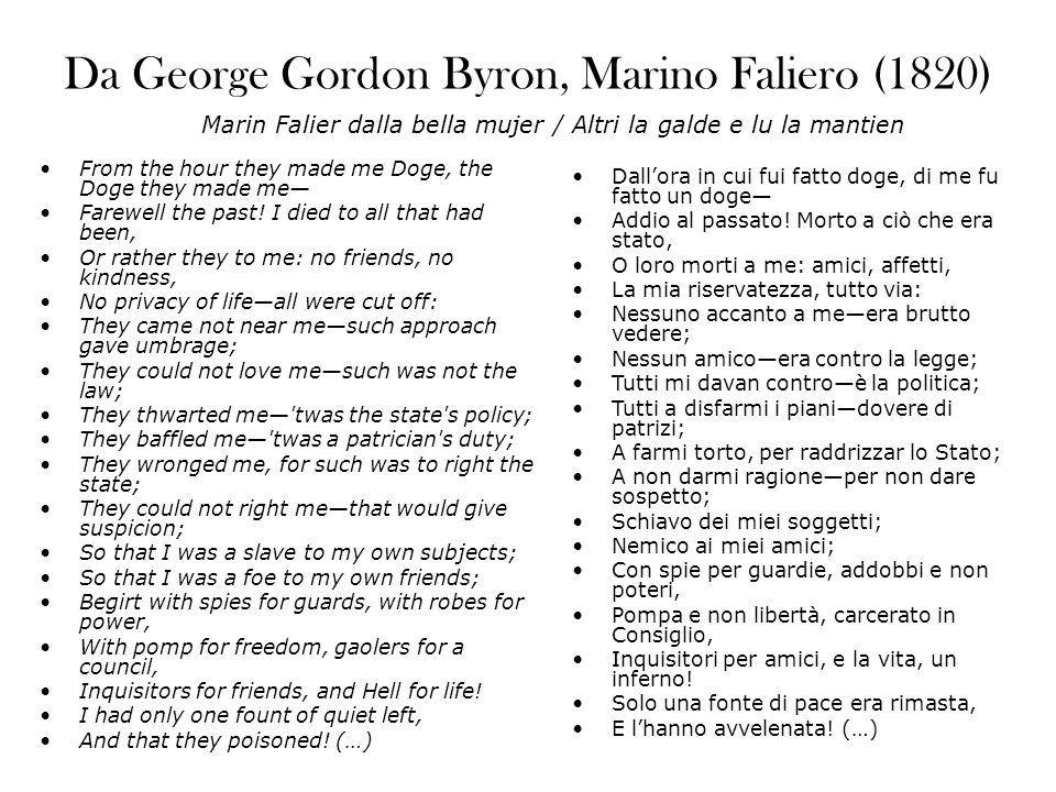 Da George Gordon Byron, Marino Faliero (1820) From the hour they made me Doge, the Doge they made me Farewell the past.