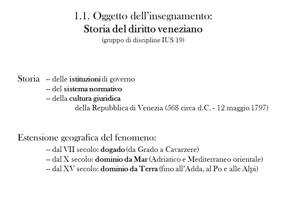 1.1. Oggetto dellinsegnamento: Storia del diritto veneziano (gruppo di discipline IUS/19) Storia -- delle istituzioni di governo -- del sistema normat