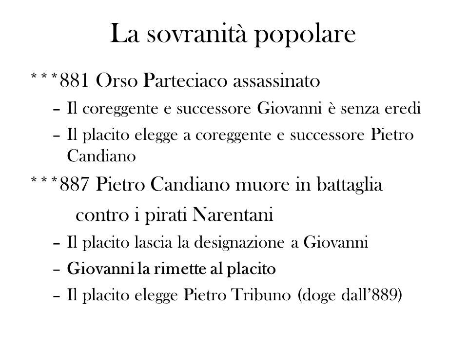 ***881 Orso Parteciaco assassinato –Il coreggente e successore Giovanni è senza eredi –Il placito elegge a coreggente e successore Pietro Candiano ***