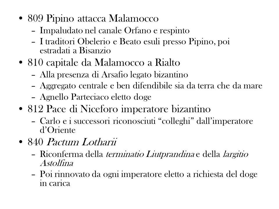 809 Pipino attacca Malamocco –Impaludato nel canale Orfano e respinto –I traditori Obelerio e Beato esuli presso Pipino, poi estradati a Bisanzio 810
