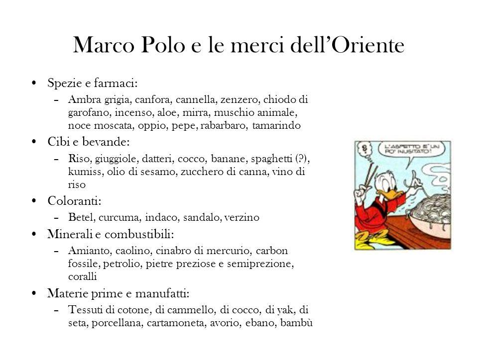 Marco Polo e le merci dellOriente Spezie e farmaci: –Ambra grigia, canfora, cannella, zenzero, chiodo di garofano, incenso, aloe, mirra, muschio animale, noce moscata, oppio, pepe, rabarbaro, tamarindo Cibi e bevande: –Riso, giuggiole, datteri, cocco, banane, spaghetti (?), kumiss, olio di sesamo, zucchero di canna, vino di riso Coloranti: –Betel, curcuma, indaco, sandalo, verzino Minerali e combustibili: –Amianto, caolino, cinabro di mercurio, carbon fossile, petrolio, pietre preziose e semiprezione, coralli Materie prime e manufatti: –Tessuti di cotone, di cammello, di cocco, di yak, di seta, porcellana, cartamoneta, avorio, ebano, bambù