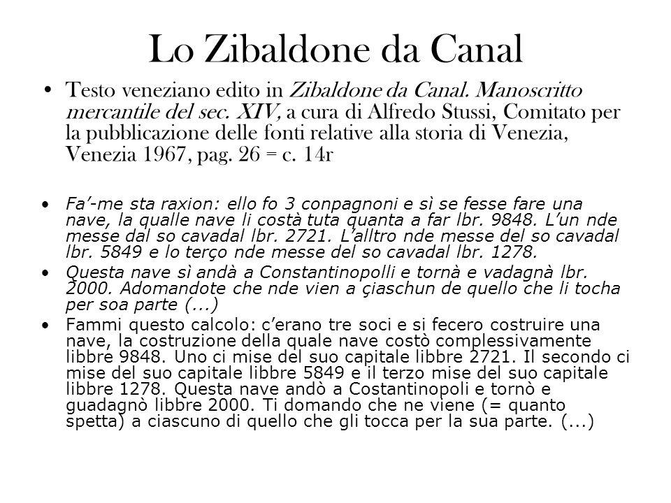 Lo Zibaldone da Canal Testo veneziano edito in Zibaldone da Canal. Manoscritto mercantile del sec. XIV, a cura di Alfredo Stussi, Comitato per la pubb