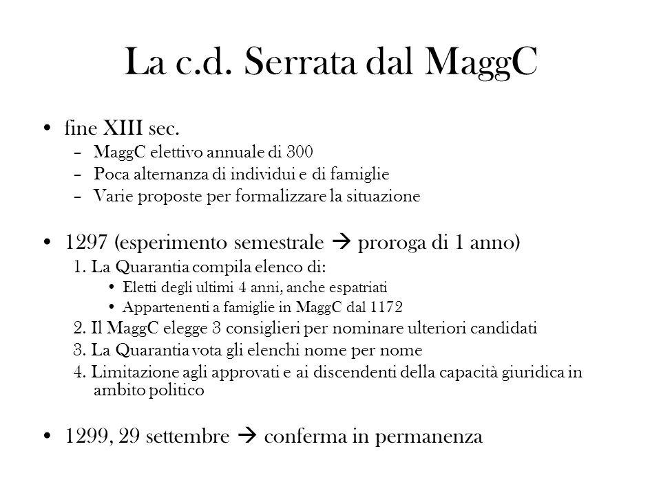 La c.d. Serrata dal MaggC fine XIII sec. –MaggC elettivo annuale di 300 –Poca alternanza di individui e di famiglie –Varie proposte per formalizzare l