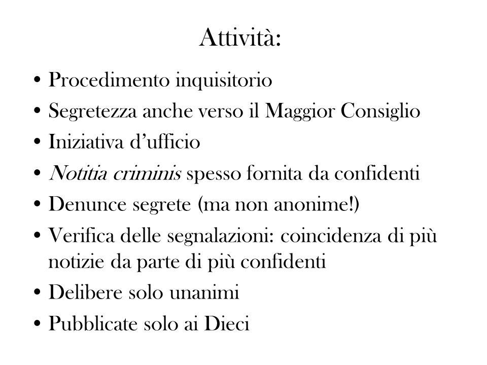Attività: Procedimento inquisitorio Segretezza anche verso il Maggior Consiglio Iniziativa dufficio Notitia criminis spesso fornita da confidenti Denu