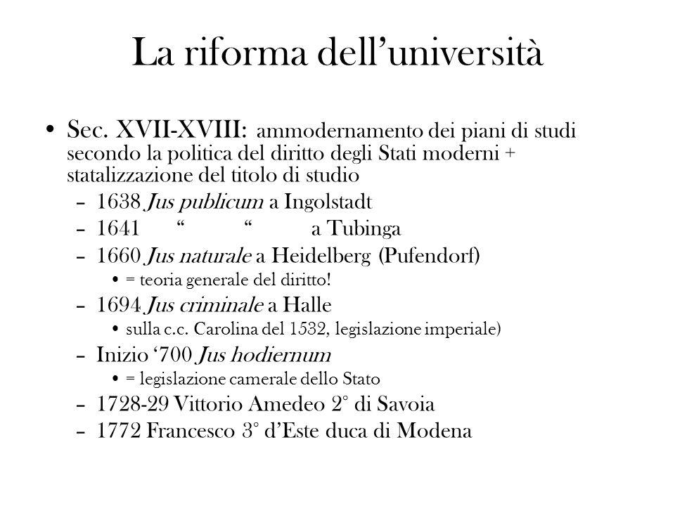 La riforma delluniversità Sec. XVII-XVIII: ammodernamento dei piani di studi secondo la politica del diritto degli Stati moderni + statalizzazione del