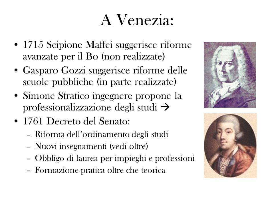 A Venezia: 1715 Scipione Maffei suggerisce riforme avanzate per il Bo (non realizzate) Gasparo Gozzi suggerisce riforme delle scuole pubbliche (in par