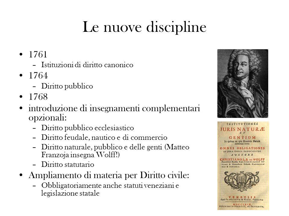 Le nuove discipline 1761 –Istituzioni di diritto canonico 1764 –Diritto pubblico 1768 introduzione di insegnamenti complementari opzionali: –Diritto p