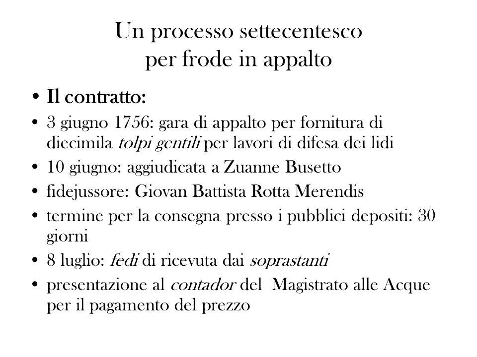 Un processo settecentesco per frode in appalto Il contratto: 3 giugno 1756: gara di appalto per fornitura di diecimila tolpi gentili per lavori di dif