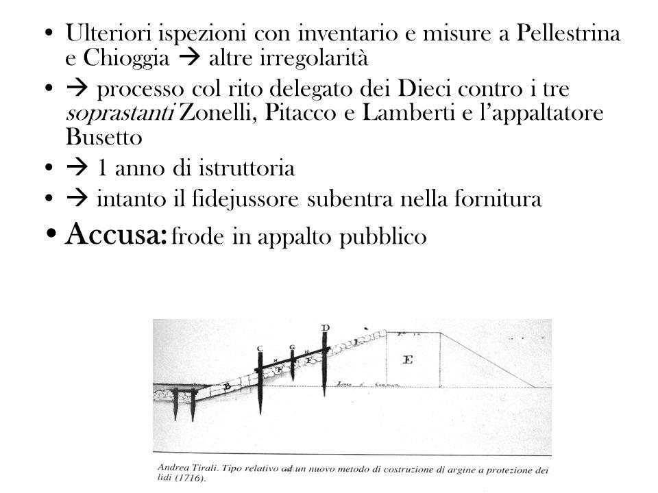Ulteriori ispezioni con inventario e misure a Pellestrina e Chioggia altre irregolarità processo col rito delegato dei Dieci contro i tre soprastanti