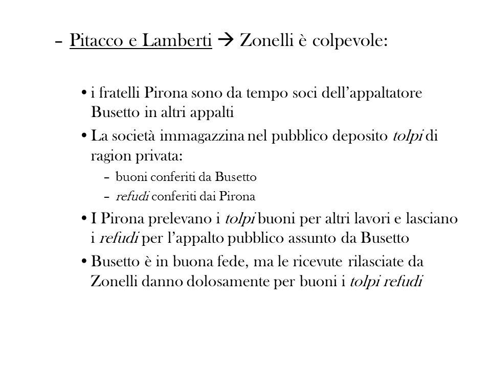 –Pitacco e Lamberti Zonelli è colpevole: i fratelli Pirona sono da tempo soci dellappaltatore Busetto in altri appalti La società immagazzina nel pubb