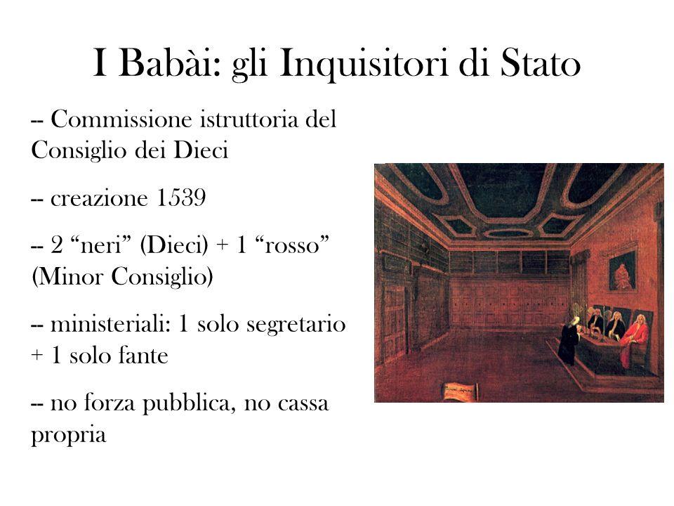 I Babài: gli Inquisitori di Stato -- Commissione istruttoria del Consiglio dei Dieci -- creazione 1539 -- 2 neri (Dieci) + 1 rosso (Minor Consiglio) -