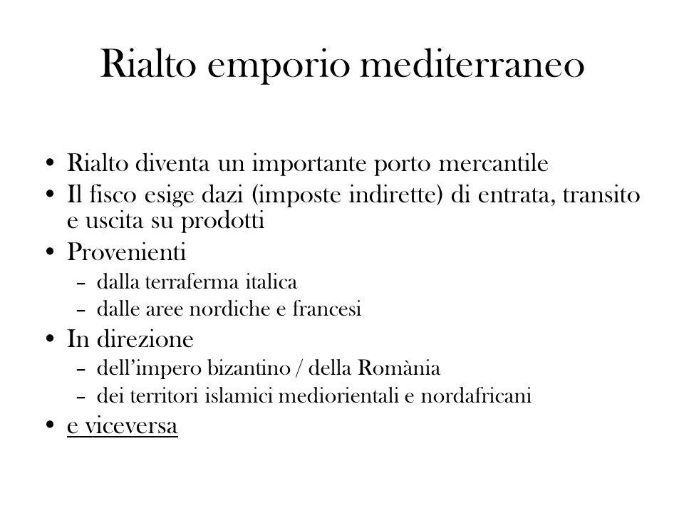 Rialto emporio mediterraneo Rialto diventa un importante porto mercantile Il fisco esige dazi (imposte indirette) di entrata, transito e uscita su pro