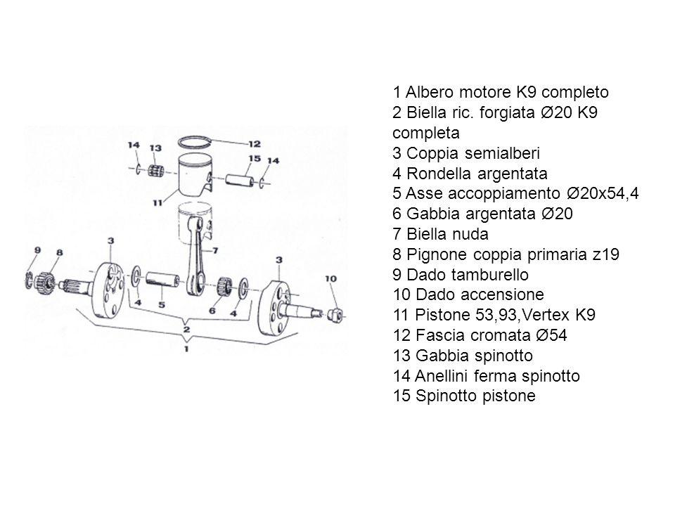 Ed ecco lo spaccato completo del motore con i dettagli tecnici 1 Cilindro K9 2 Testa K9 3 Candela Bosch W 07 CS 4 Vite TCEI 6x30 5 O-Ring piccolo 6 O-