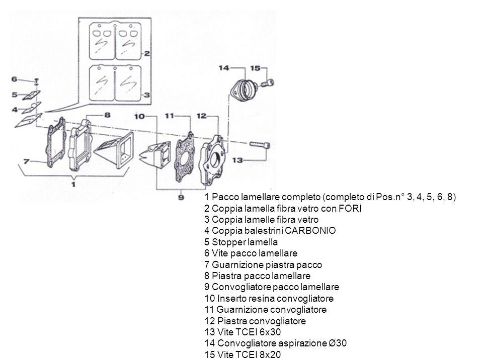 1 Anello Seeger 2 Piatto spingidisco frizione 3 Disco frizione guarnito 4 Disco frizione acciaio 1,5 mm 5 Mozzo coppia primaria completo di campana 6