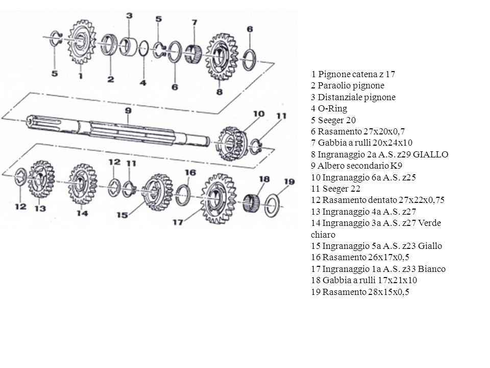 1 Dado tamburello frizione 2 Spessore coppia primaria 30x18x3 3 Paraolio 5x9x2 4 Spessore 30x20x2 5 Albero primario z 13 K 9 6 Gabbia a rulli 20x24x10