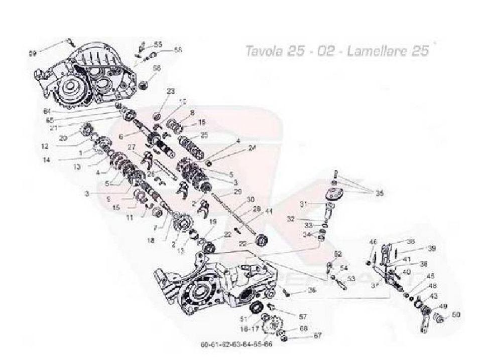01Carter motore in lega (2 pezzi) 02Albero motore (2 pezzi) mm. 20 sp. 34 03Asse accoppiamento mm. 20 04Biella speciale mm. 20 05Gabbia argentata mm.