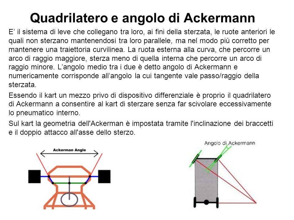 Quadrilatero e angolo di Ackermann E il sistema di leve che collegano tra loro, ai fini della sterzata, le ruote anteriori le quali non sterzano mantenendosi tra loro parallele, ma nel modo più corretto per mantenere una traiettoria curvilinea.