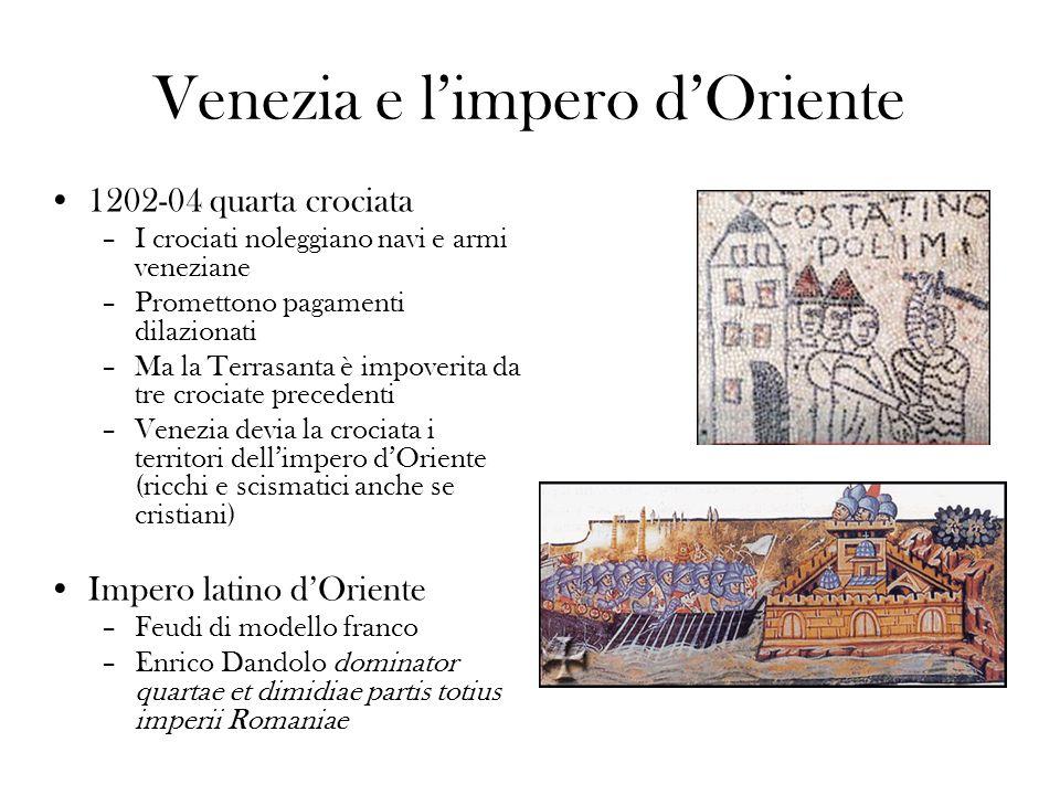 Venezia e limpero dOriente 1202-04 quarta crociata –I crociati noleggiano navi e armi veneziane –Promettono pagamenti dilazionati –Ma la Terrasanta è