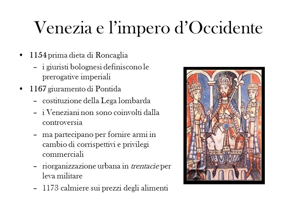 Venezia e limpero dOccidente 1154 prima dieta di Roncaglia –i giuristi bolognesi definiscono le prerogative imperiali 1167 giuramento di Pontida –cost