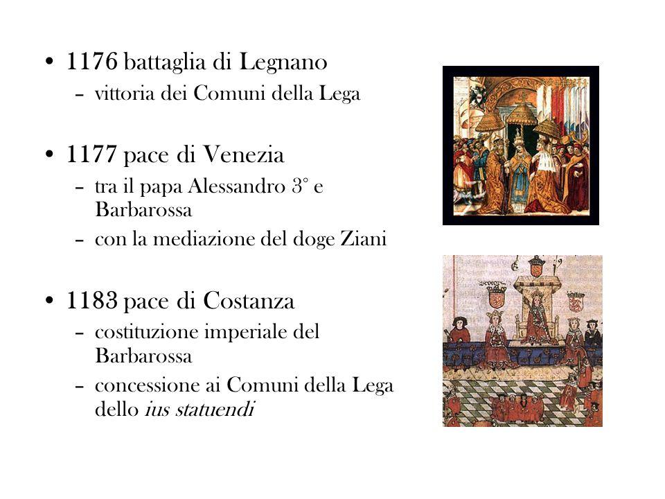 1176 battaglia di Legnano –vittoria dei Comuni della Lega 1177 pace di Venezia –tra il papa Alessandro 3° e Barbarossa –con la mediazione del doge Zia