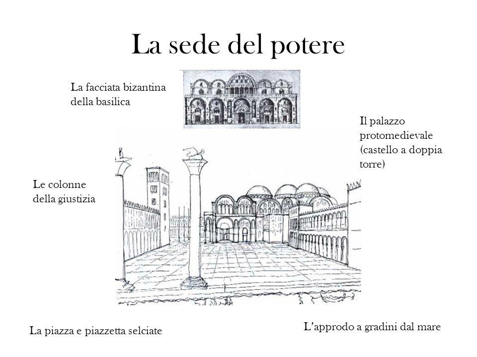 La sede del potere La facciata bizantina della basilica Il palazzo protomedievale (castello a doppia torre) Le colonne della giustizia Lapprodo a grad