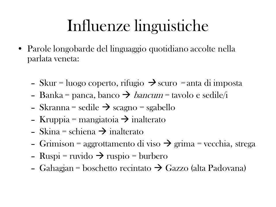 Influenze linguistiche Parole longobarde del linguaggio quotidiano accolte nella parlata veneta: –Skur = luogo coperto, rifugio scuro = anta di impost
