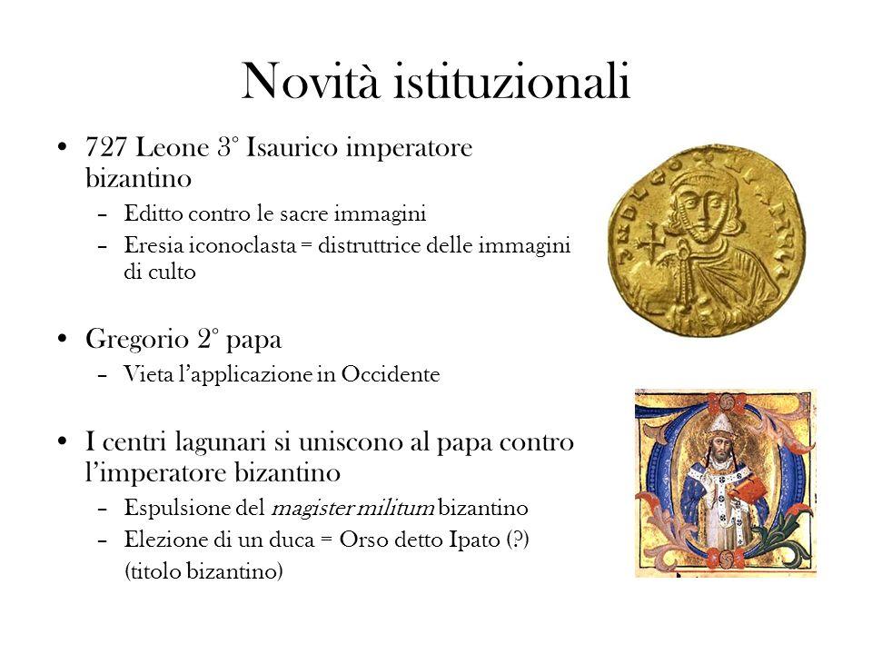 Novità istituzionali 727 Leone 3° Isaurico imperatore bizantino –Editto contro le sacre immagini –Eresia iconoclasta = distruttrice delle immagini di