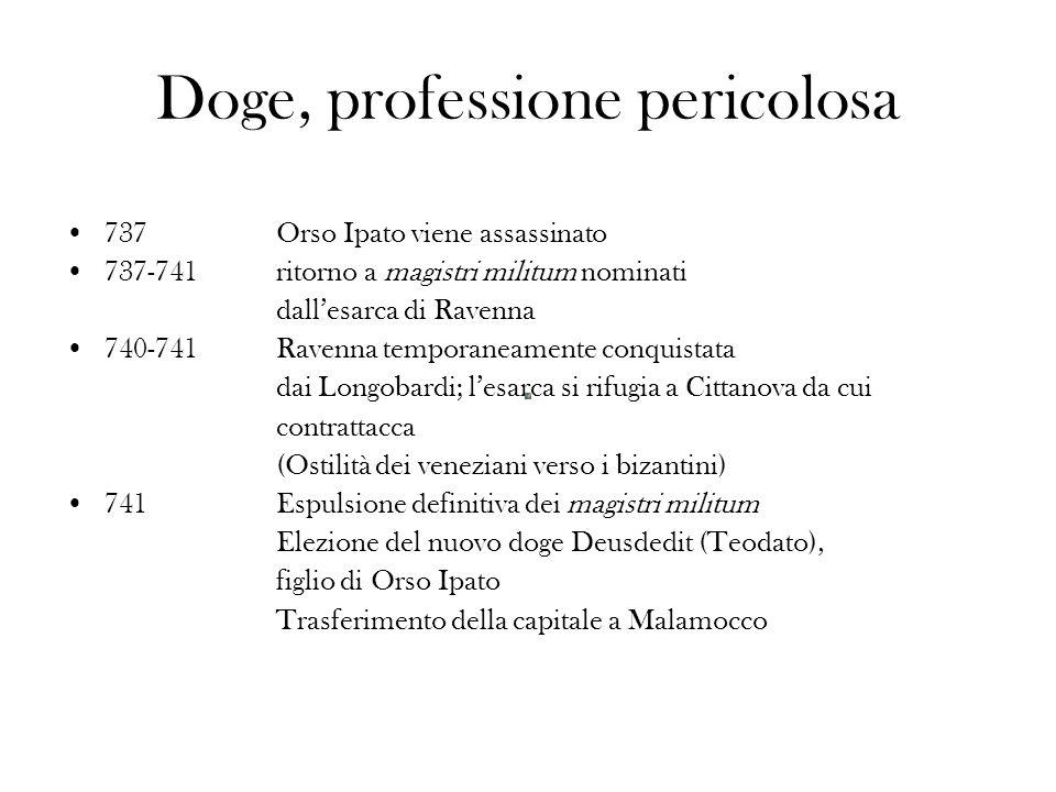 Doge, professione pericolosa 737Orso Ipato viene assassinato 737-741ritorno a magistri militum nominati dallesarca di Ravenna 740-741Ravenna temporane