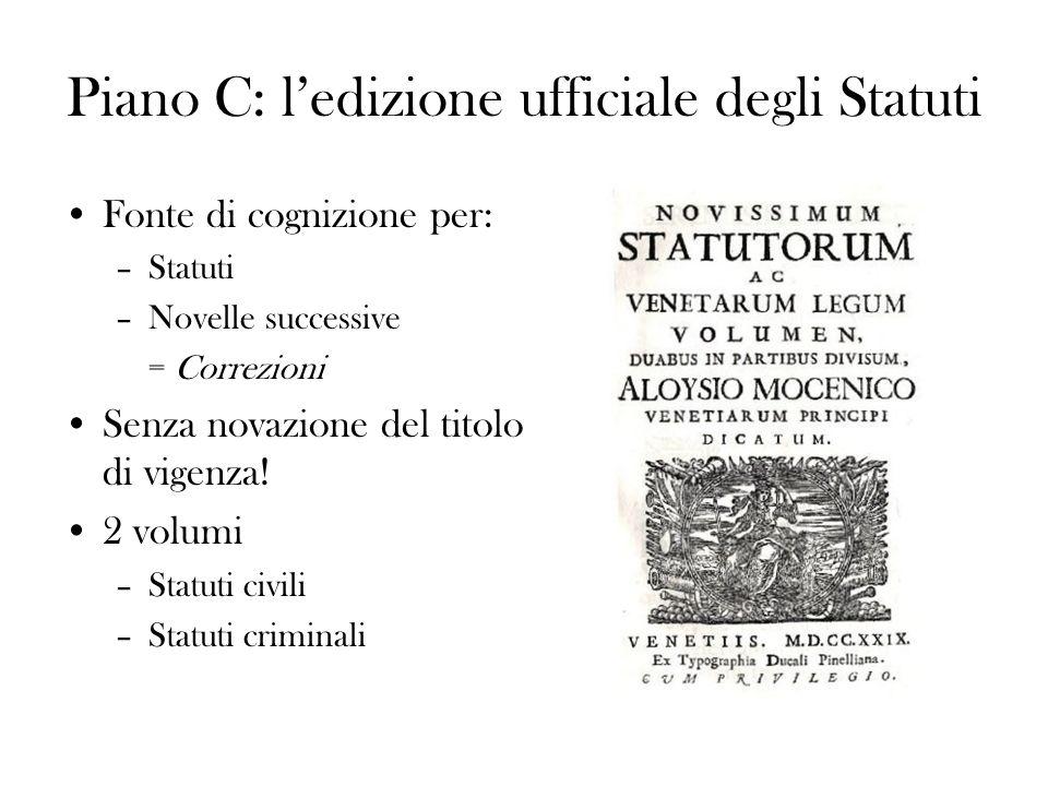 Piano C: ledizione ufficiale degli Statuti Fonte di cognizione per: –Statuti –Novelle successive = Correzioni Senza novazione del titolo di vigenza! 2