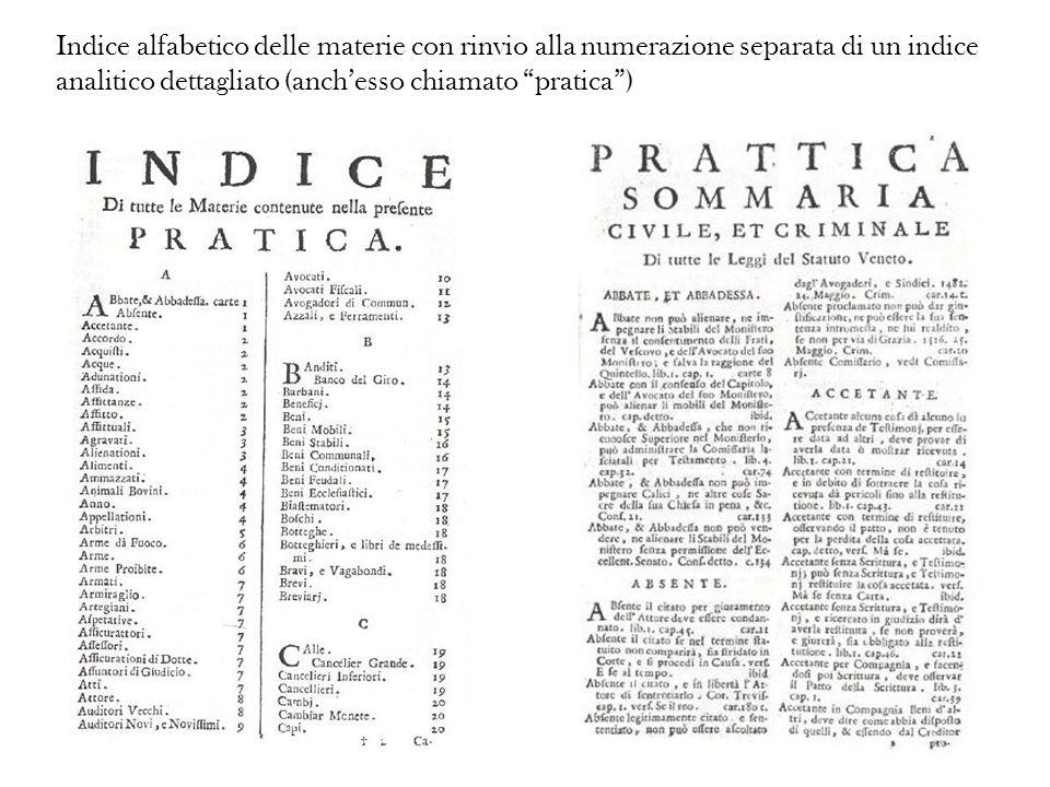 Indice alfabetico delle materie con rinvio alla numerazione separata di un indice analitico dettagliato (anchesso chiamato pratica)