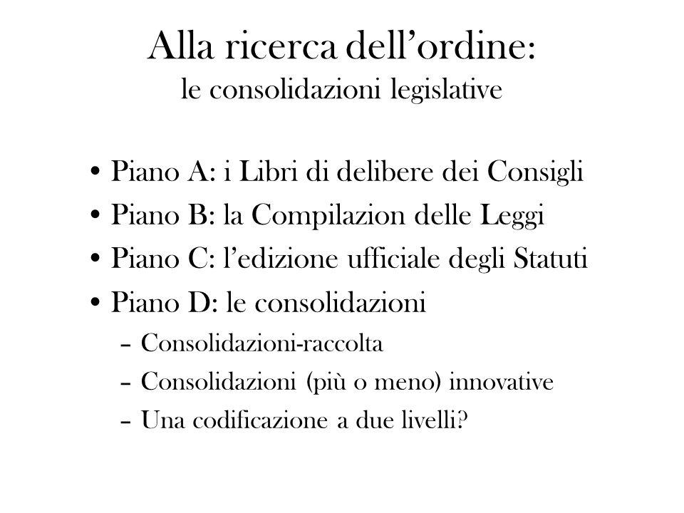 Alla ricerca dellordine : le consolidazioni legislative Piano A: i Libri di delibere dei Consigli Piano B: la Compilazion delle Leggi Piano C: ledizio